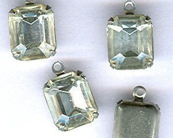 vintage RHINESTONE CHARMS gorgeous and dainty rhinestone drops in silvertone setting, FIVE findings prong set
