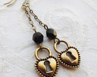 75% Off Steampunk Earrings- Heart Padlock with Black Czech Glass Beads