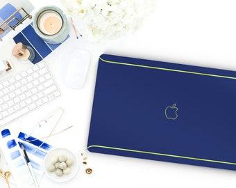 Pop Indigo Macbook Pro 13 Case Macbook Air Case Laptop Case Macbook Case . Pop Indigo and Green Chrome Edge Detailing - Platinum