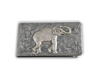 Money Clip Antique Silver Neo Victorian Elephant Inlaid in Hand Painted Metallic SIlver Enamel on a Silver Plated Clip