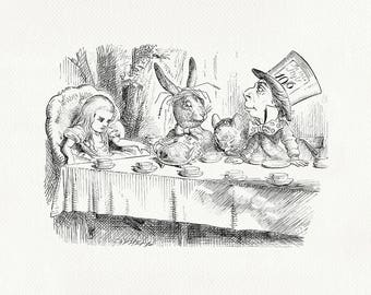 Mad Tea Party - poster print Alice in Wonderland classic copy of book illustration by J. Tenniel #81