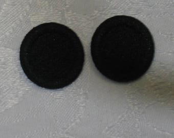 Vintage Black Fabric Covered Aluminum Buttons for Art, Craft, and Sewing Projects
