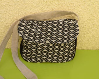 Small satchel ethnic graphic black and white and linen fabric
