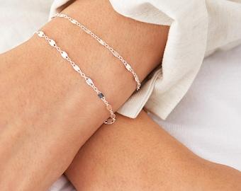 Bracelet double chaîne délicate, délicat Bracelet en superposition Dainty or Bracelet, Bracelet d'empilage délicate ou chaîne de Rose, de la chaîne