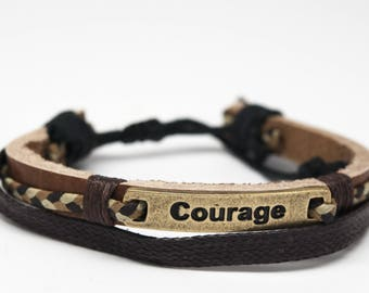 plate il leather friendship courage bracelet etsy charm adjustable unisex market metal shyb