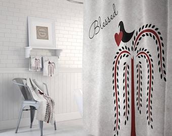 Blessed  Shower Curtain, Bath Mat, Bath Towels, Folk Art Tree , Crow, Heart