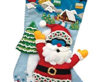 Snowboard Santa Felt Stocking Kit from MerryStockings