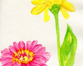 Zinnias Watercolors Paintings original, Small floral art pink, yellow zinnias watercolor paintings, Zinnia art decor, flowers floral
