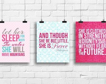 Let her sleep, and though she be but little, she is clothed in strenght, baby decor, Kids art, Kids Wall Art, typography prints,  A-3001