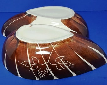 "Vintage Purinton Slip Ware ""Brown Intaglio"" Pattern Vegetable Bowl"