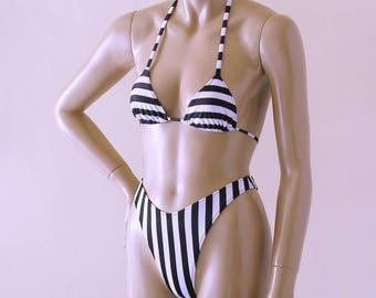 80s 90s High Leg Thong Bikini Bottom and Triangle Top in Black and White Stripe
