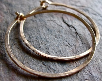 Gold Filled Hoop Earrings - Handmade Lightweight 14K Goldfill Hammered Hoops