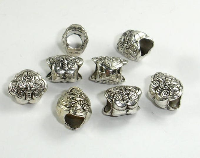 Metal Beads, Metal Spacer, Large Hole Spacer, Zinc Alloy, Antique Silver Tone, 10x9x7.5mm, 10 pcs, Hole 4.5mm (006852025)