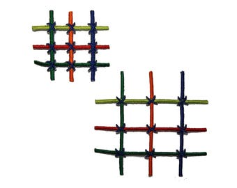 ID 2350AB Set of 2 Intersecting Lines Patches Checkered Stitch Iron On Applique