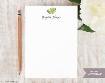 Personalized Notepad - PALM - Stationery / Stationary Notepad - Peaceful Tropical Calligraphy Leaf Pad