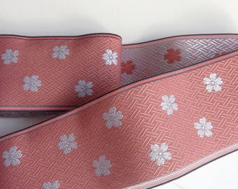 Ribbons, trims of Tatami、motif silver cherry blossom, pink background, 7.8 cm ~ 8.2 cm (G1000)