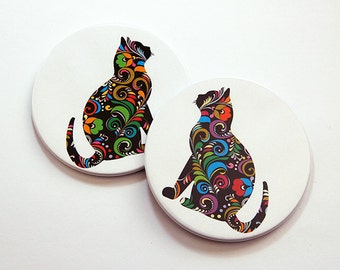 Gift for Cat Lover, Cat Coasters, Drink Coasters, Coasters, Coaster Set, Under 10, Stocking Stuffer, Loves Cats, Round Coasters (5516)