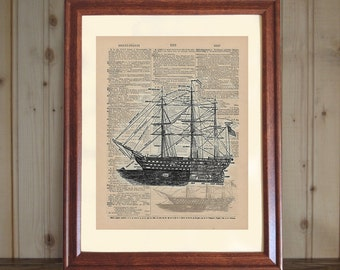 Ship Dictionary Print, Old Sailing Ship Drawing, 3D Ship Print, Ship Wall Art, Dictionary Art, Ship Print on 5x7 or 8x10 Canvas Panel