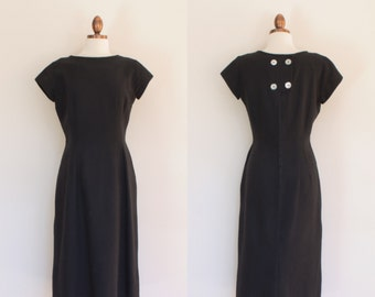 vintage 1960s black waffle weave day dress / 60s short sleeve afternoon dress / S - M