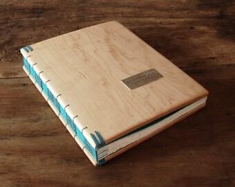 maple wood wedding guest book - rustic wedding guestbook custom handmade journal anniversary retirement baby recipe summer - made to order