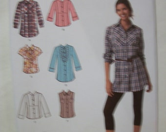 Simplicity 2447 Misses Size H5 6,8,10,12,14 shirt in 2 lengths with front, collar and sleeve variations.  Easy-to-Sew!