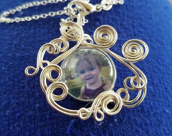 Custom Photo Pendant - Wire Wrap Personalized Image Jewelry - 22 inch sterling silver necklace