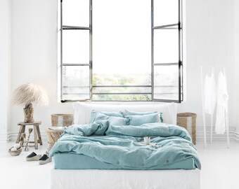 Linen duvet cover, aquamarine blue. Stone washed linen bedding, softened linen. Linen quilt cover. Queen, king, double, twin, custom sizes.