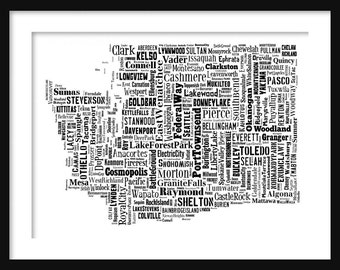 Washington Typography Map Poster Print
