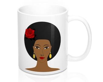 Afro Queen Mug 11oz, Afrocentric Mugs, Mug Gifts, Gifts For Her, Gifts For Him, Gifts For Women, Gifts For Mom