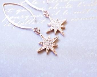 Earrings, Rose Gold Earrings, Star Earrings, Dangle Earrings, Drop Earrings, Crystal Earrings, Handmade Earrings, Long Earrings, Gift