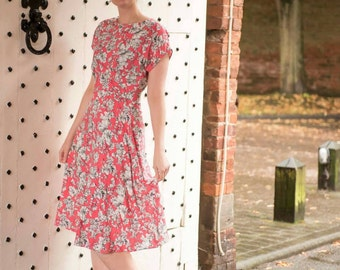 "1940s dress, handmade vintage inspired ""Ella"" dress in a coral floral print , pleated waist detail. Made to order in size."