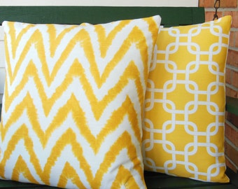 Yellow Decorative Throw Pillows Accent Cushion COVERS Yellow Chevron Childrens Pillow Nursery Decor Two Shabby Chic Couch Pillow Cottage