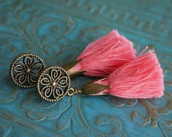 "Bohemian ""Coral of the Sea"" Dangle Tassel Stud Earrings, Boho Chic Gypsy Hippie Rustic Statement Coral Pink Earrings Women's Gift ByLEXY"