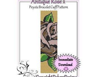 Bead Pattern Peyote(Bracelet Cuff)-Antique Rose 2