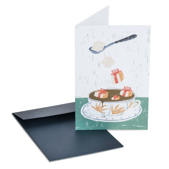 CHRISTMAS BREAK. Holiday card. Tea cup. Tea party invitation. For her, for grandma, for girlfriend
