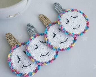 Unicorn Coasters, set of 4 crochet unicorn non slip coasters with silver and gold horns, unicorn drinks mat ,unicorn decor, crochet coaster