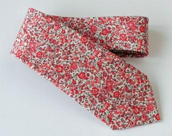 Floral Liberty tie - Liberty tana lawn Emma & Georgina dark pink tie - wedding tie - coral pink floral tie