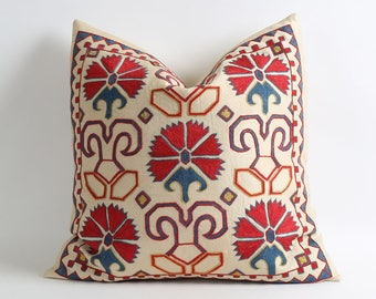Hand embroidery silk suzani pillow cover