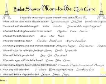 Baby Shower Game - Paris Theme Baby Shower - Parisian Baby Shower - Digital Baby Shower Game - Available in ANY Theme