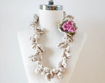 Pink Blossom necklace scarf, Ivory necklace scarf with pink blossoms brooch, Small accent scarf, perfect any season accent scarf, infinity