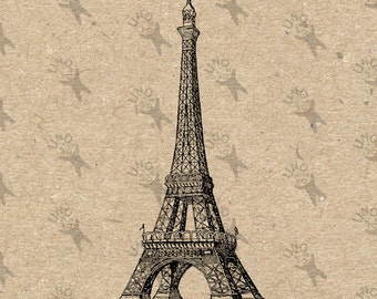 Vintage Paris Eiffel Tower  La Tour Eiffel  Instant Download Digital printable clipart graphic - scrapbooking,decoupage,kraft, etc HQ 300dpi