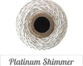 10 yards/ 9.144 m Platinum Shimmer, Metallic Silver & Natural Baker's Twine Divine Twine
