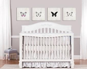 Set of 4 Butterfly Canvas Prints, Nursery Decor, Girls Room, Photography , Butterflies, Art Print, Butterfly Art