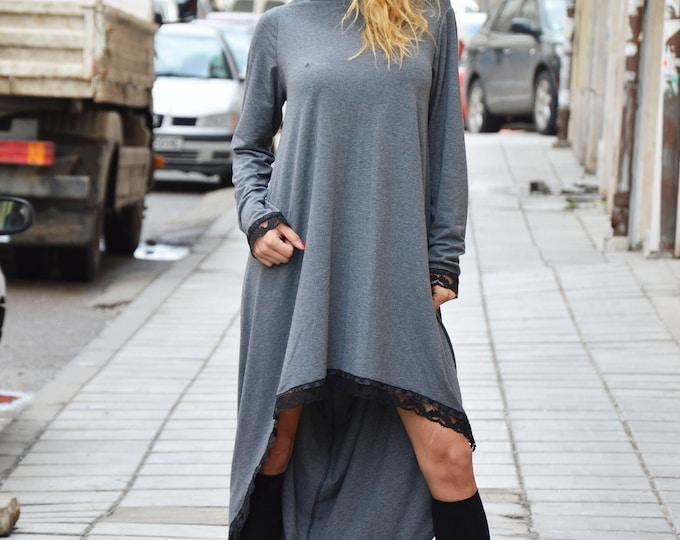 Plus Size Maxi Tunic, Loose Kaftan Dress, Asymmetrical Black Tunic With Lace, Extravagant Viscose Dress by SSDfashion
