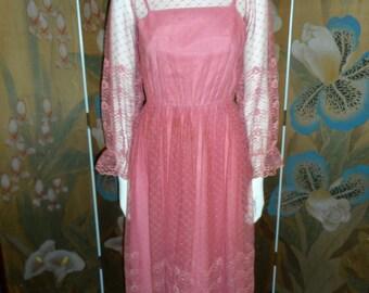 Vintage 1980's Dusty Rose Pink Lace Dress - Size 4