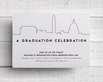Washington DC Graduation Party Invitation, Graduation Invitation, Graduation Dinner, College Graduation, High School