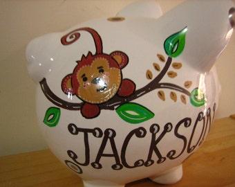 Personalized Large piggy Bank Monkey - Newborn, Baby Shower, Ring Bearer, Flower Girl, Christening Gift