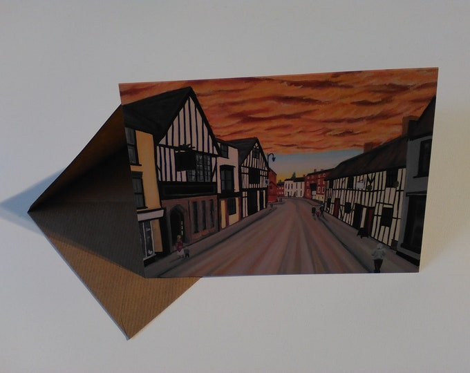 Welsh Row - Greeting Card with Envelope in Cellophane Wrapping