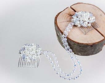 Pearl crystal hair chain, draping hair comb, Vintage style 1920's, gatsby style, flower head piece, adorned flowers. Wedding
