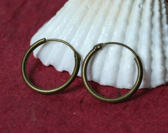 Antique brass spring hoop 14mm in diameter, 12 pcs (item ID ABSH12)